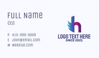 Wing Courier Letter H Business Card