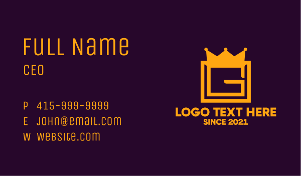 empire - Golden Crown Letter G Business card horizontal design