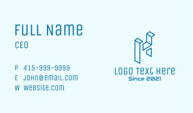Blue 3D Letter H Business Card