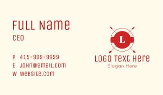 Red Arrow Letter Business Card