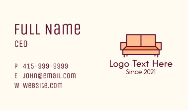 Orange Couch Furniture Business Card