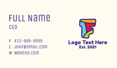 Colorful Letter F Business Card
