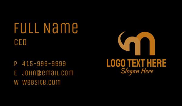 safari park - Gold Letter M Elephant Business card horizontal design
