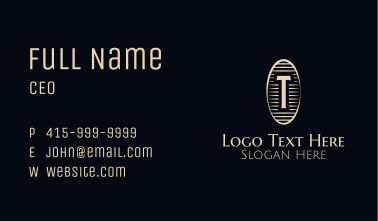 Vintage Woodcut Letter T Business Card