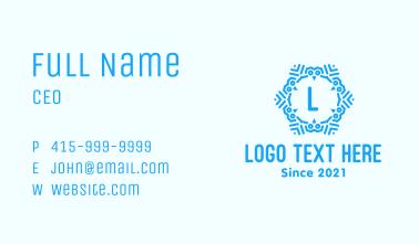 Blue Winter Letter Business Card