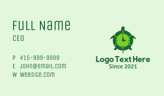 Green Turtle Clock Business Card
