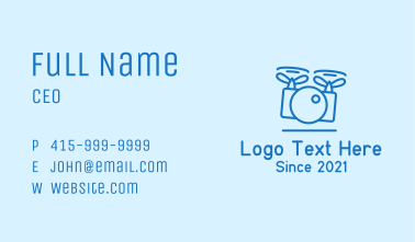 Blue Drone Photography Camera  Business Card