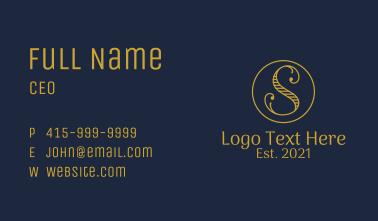 Golden Letter S Business Card