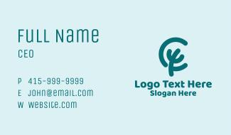 Ocean Coral Letter C Business Card