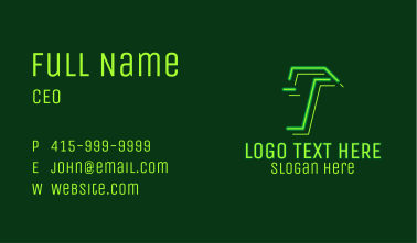 Neon Retro Gaming Letter T Business Card
