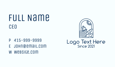 Rocky Sea Sailing Boat Business Card