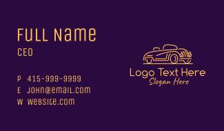 Golden Vintage Car Business Card
