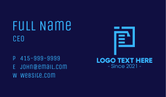 Document File Letter P Business Card