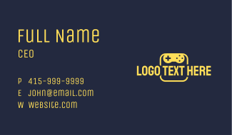 Yellow Gaming Wordmark Business Card