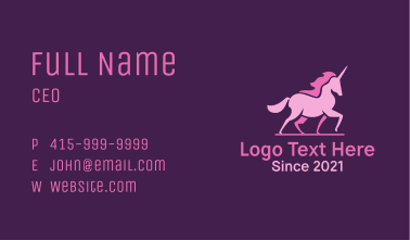 Pink Unicorn Silhouette Business Card
