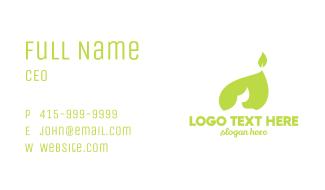 Green Leaf Flame Business Card