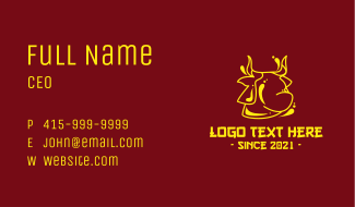 Golden Chinese Ox Business Card