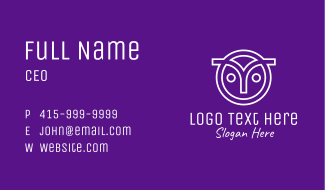Owl Head Letter Y Business Card