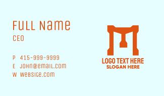 Bold Orange Letter M Business Card