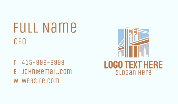 metropolitan - Brooklyn Bridge Landmark Business card horizontal design