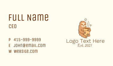 Sloth Coffee Cup Business Card