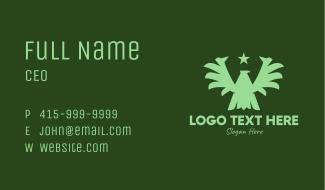 Green Military Eagle  Business Card