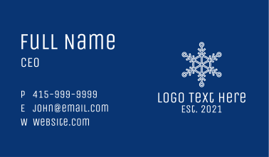 White Snowflake Outline  Business Card