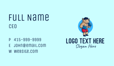 Bull Boxing Fighter Business Card