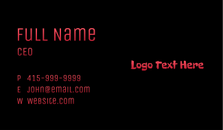Creepy Red Text Business Card