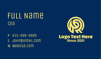Monoline Yellow Letter R Business Card