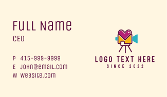 Heart Video Record Business Card