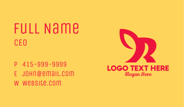 Red Animal Letter R Business Card