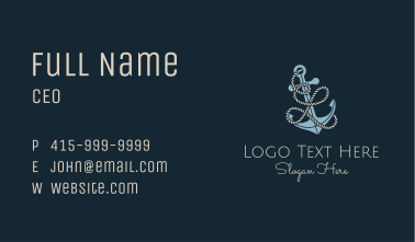 Anchor Rope Letter L Business Card