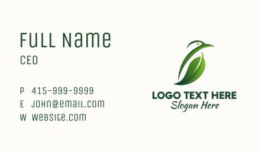 Green Bird Leaf Business Card