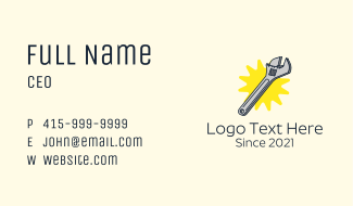 Mechanic Adjustable Wrench Business Card