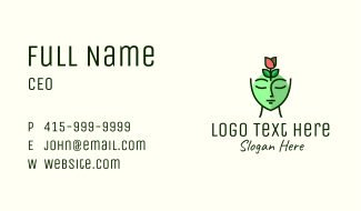 Green Rose Woman Business Card