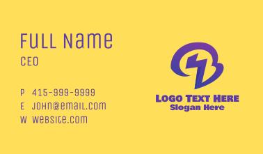 Purple Lightning Letter B Business Card