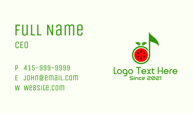 Watermelon Music Note Business Card