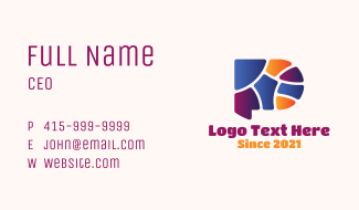 Colorful Letter P Mosaic Business Card