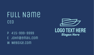 Blue Speed Boat Business Card