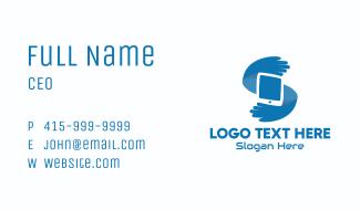 Blue Tech Hands Letter S Business Card
