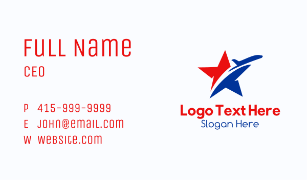 accommodation - Star Transport Airplane Business card horizontal design