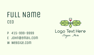 Red Wine Wreath Business Card