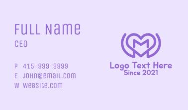 Purple Love Heart Letter M Business Card