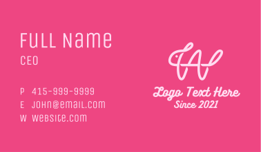 Pink Rabbit Letter W Business Card