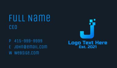 Blue Pixel Letter J Business Card