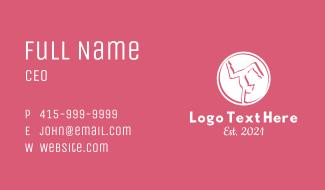 Minimalist White Gymnast Business Card
