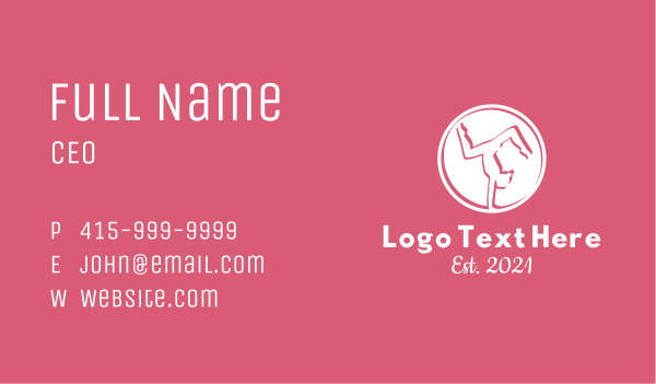 gymnast - Minimalist White Gymnast Business card horizontal design