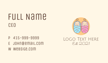 Twin Baby Shower Business Card