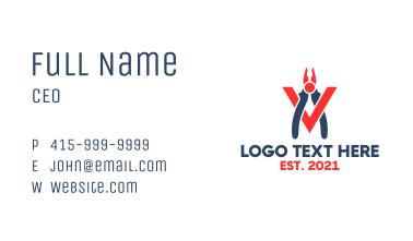 Modern Pliers Letter V Business Card